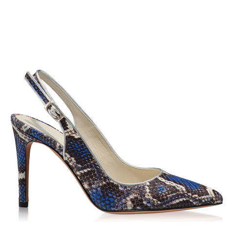 Pantofi Eleganti Dama Candy Snake Skin Blue F1