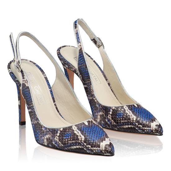 Pantofi Eleganti Dama Candy Snake Skin Blue F2