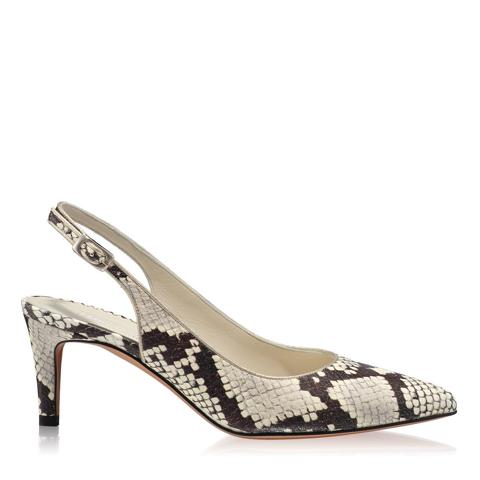 Pantofi Eleganti Dama Candy Snake Skin Alb Negru F1