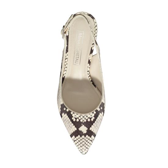 Pantofi Eleganti Dama Candy Snake Skin Alb Negru F4