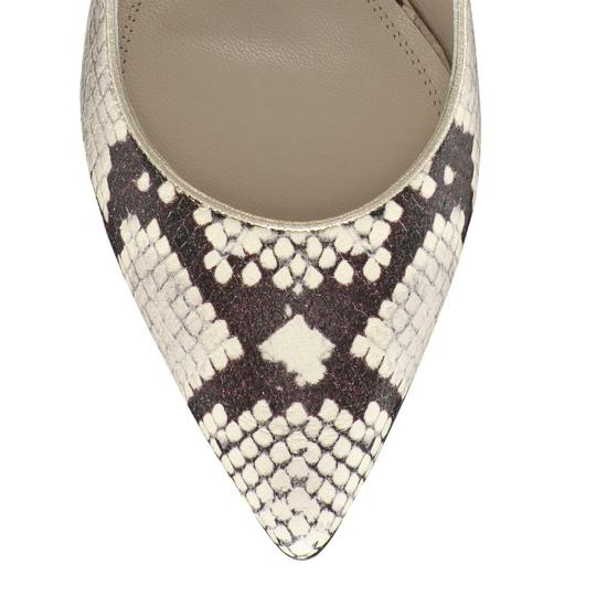 Pantofi Eleganti Dama Candy Snake Skin Alb Negru F5